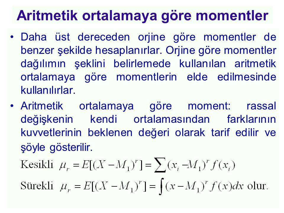 Aritmetik ortalamaya göre momentler •Daha üst dereceden orjine göre momentler de benzer şekilde hesaplanırlar. Orjine göre momentler dağılımın şeklini