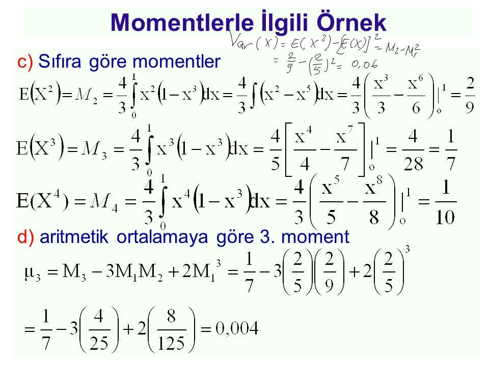 c) Sıfıra göre momentler d) aritmetik ortalamaya göre 3. moment