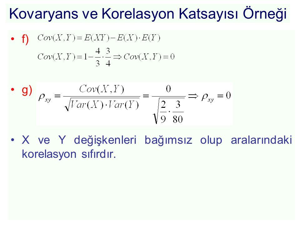 Kovaryans ve Korelasyon Katsayısı Örneği •f) •g) •X ve Y değişkenleri bağımsız olup aralarındaki korelasyon sıfırdır.