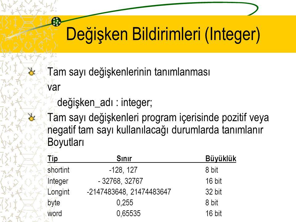 Değişken Bildirimleri (Integer) Tam sayı değişkenlerinin tanımlanması var değişken_adı : integer; Tam sayı değişkenleri program içerisinde pozitif vey