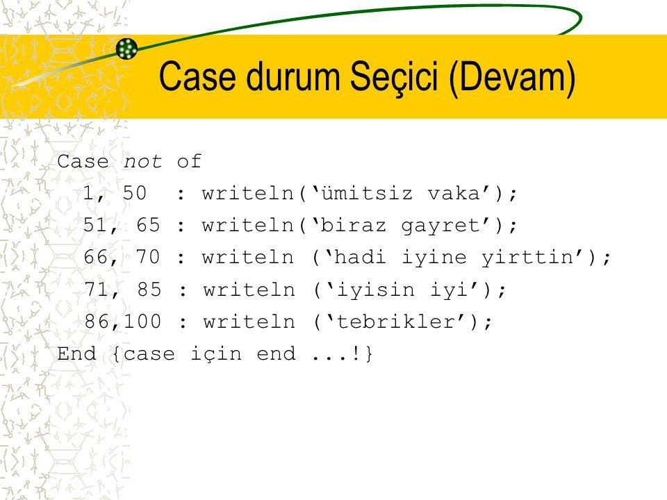 Case durum Seçici (Devam) Case not of 1, 50 : writeln('ümitsiz vaka'); 51, 65 : writeln('biraz gayret'); 66, 70 : writeln ('hadi iyine yirttin'); 71,