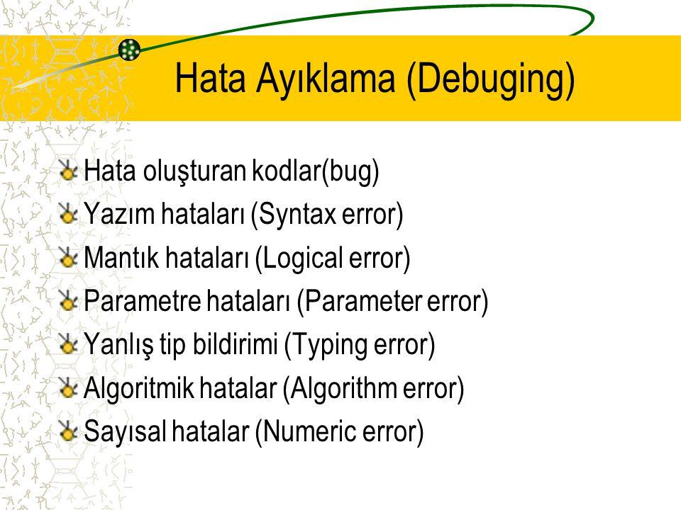 Hata Ayıklama (Debuging) Hata oluşturan kodlar(bug) Yazım hataları (Syntax error) Mantık hataları (Logical error) Parametre hataları (Parameter error)