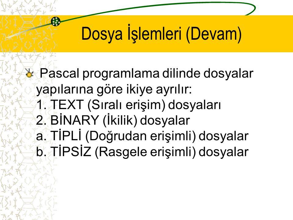 Dosya İşlemleri (Devam) Pascal programlama dilinde dosyalar yapılarına göre ikiye ayrılır: 1. TEXT (Sıralı erişim) dosyaları 2. BİNARY (İkilik) dosyal