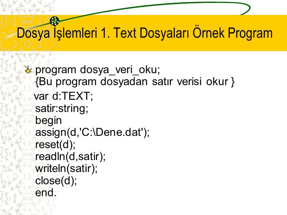 Dosya İşlemleri 1. Text Dosyaları Örnek Program program dosya_veri_oku; {Bu program dosyadan satır verisi okur } var d:TEXT; satir:string; begin assig