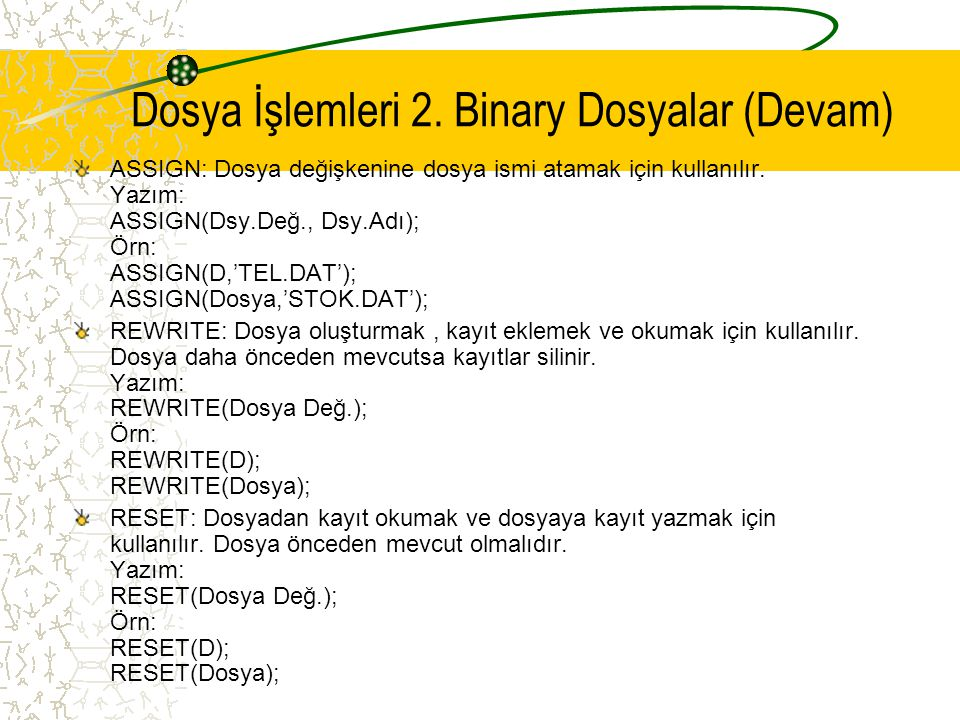 ASSIGN: Dosya değişkenine dosya ismi atamak için kullanılır. Yazım: ASSIGN(Dsy.Değ., Dsy.Adı); Örn: ASSIGN(D,'TEL.DAT'); ASSIGN(Dosya,'STOK.DAT'); REW
