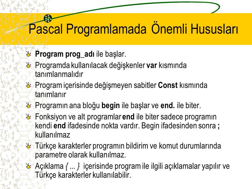 Pascal Programlamada Önemli Hususları Program prog_adı ile başlar. Programda kullanılacak değişkenler var kısmında tanımlanmalıdır Program içerisinde