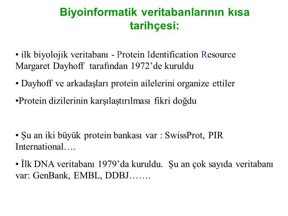 • ilk biyolojik veritabanı - Protein Identification Resource Margaret Dayhoff tarafından 1972'de kuruldu • Dayhoff ve arkadaşları protein ailelerini o