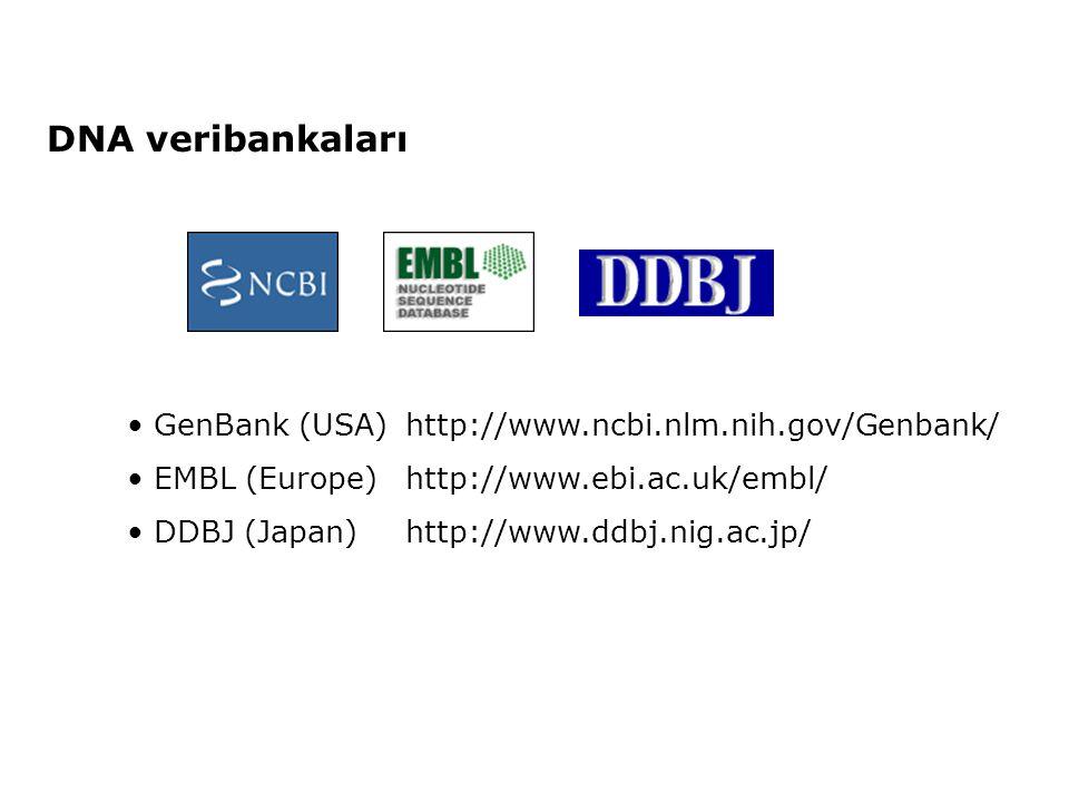 DNA veribankaları • GenBank (USA)http://www.ncbi.nlm.nih.gov/Genbank/ • EMBL (Europe)http://www.ebi.ac.uk/embl/ • DDBJ (Japan)http://www.ddbj.nig.ac.j