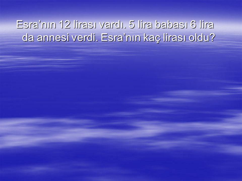 Çözüm Verilenler:  Esra'nın parası:12 lira  Babasının verdiği:5 lira  Annesinin verdiği:6 lira İstenilen: Esra'nın toplam parası: Esra'nın toplam parası: