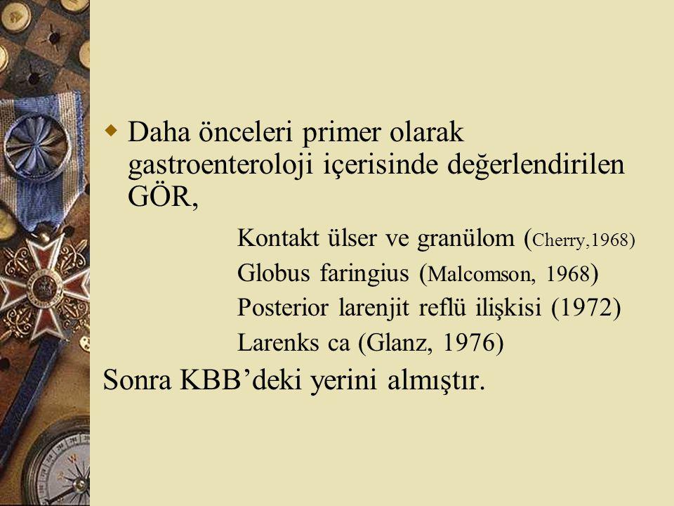  Daha önceleri primer olarak gastroenteroloji içerisinde değerlendirilen GÖR, Kontakt ülser ve granülom ( Cherry,1968) Globus faringius ( Malcomson,