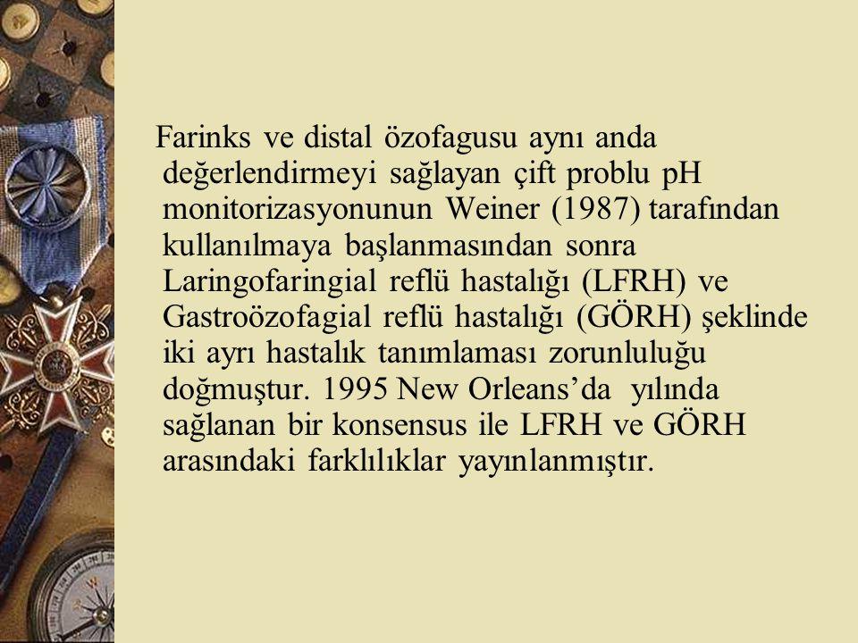 Farinks ve distal özofagusu aynı anda değerlendirmeyi sağlayan çift problu pH monitorizasyonunun Weiner (1987) tarafından kullanılmaya başlanmasından