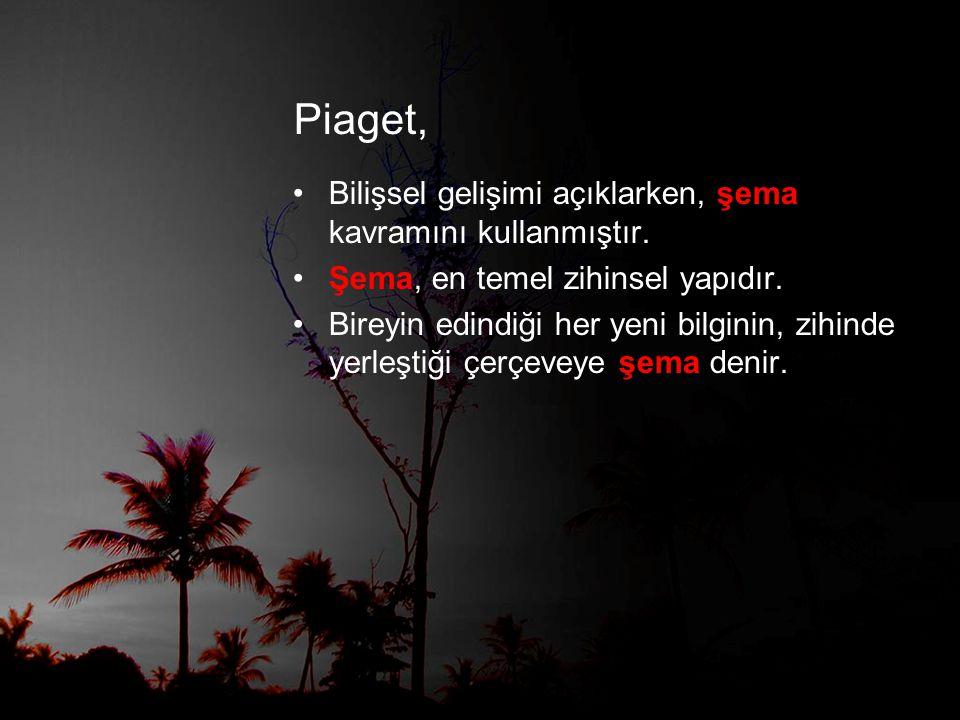 Piaget, •Bilişsel gelişimi açıklarken, şema kavramını kullanmıştır.