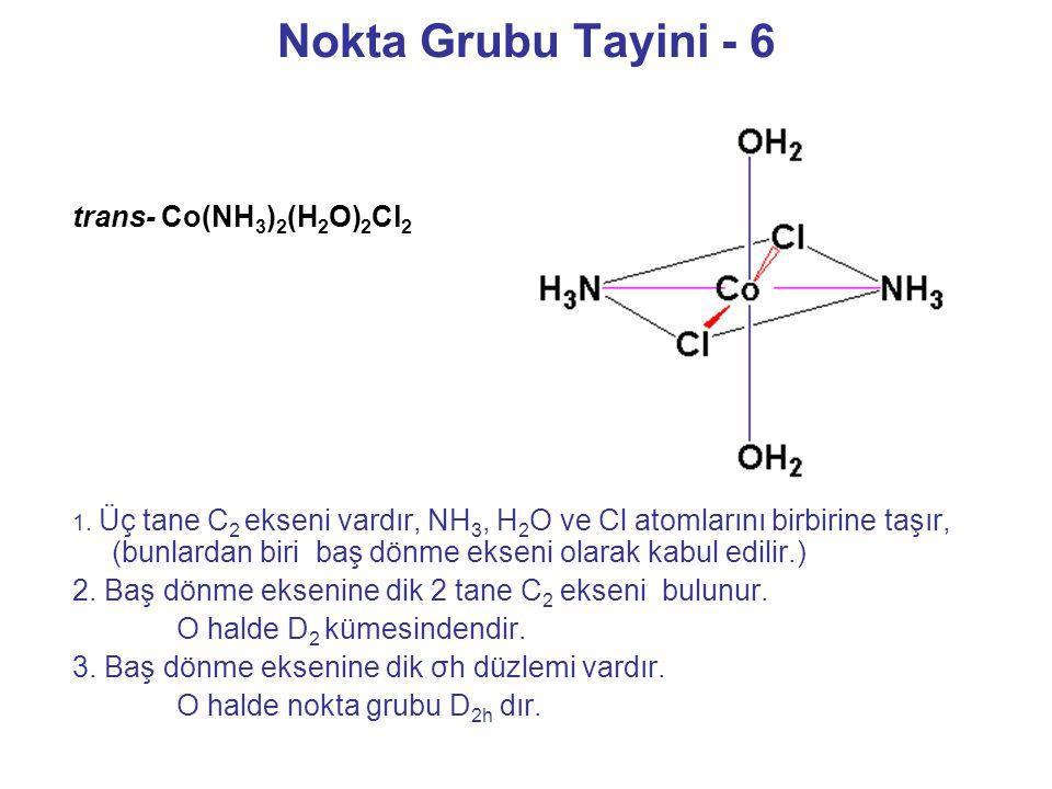 Nokta Grubu Tayini - 6 1. Üç tane C 2 ekseni vardır, NH 3, H 2 O ve Cl atomlarını birbirine taşır, (bunlardan biri baş dönme ekseni olarak kabul edili