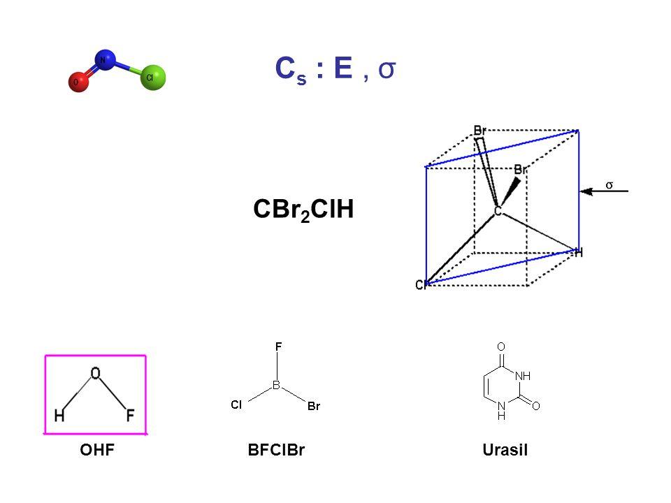 C s : E, σ CBr 2 ClH UrasilBFClBrOHF