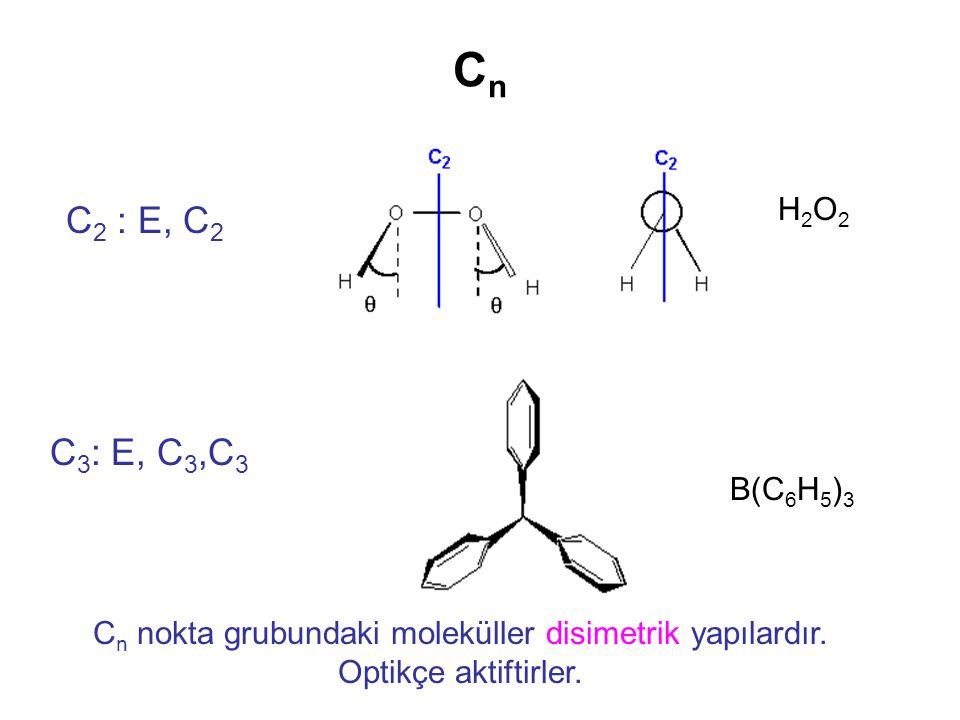 CnCn C 2 : E, C 2 C 3 : E, C 3,C 3 H2O2H2O2 B(C 6 H 5 ) 3 C n nokta grubundaki moleküller disimetrik yapılardır. Optikçe aktiftirler.