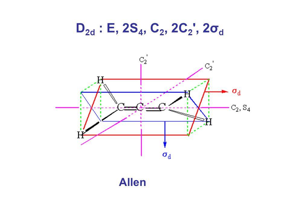 D 2d : E, 2S 4, C 2, 2C 2 , 2σ d Allen