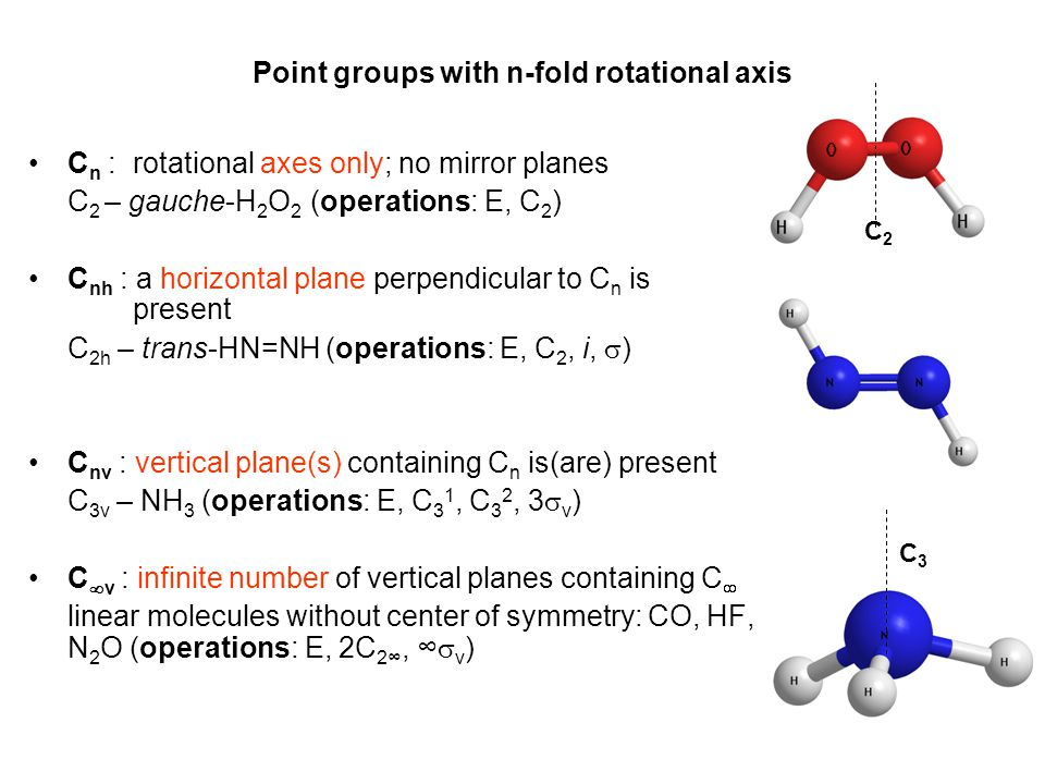 Point groups with n-fold rotational axis •C n :rotational axes only; no mirror planes C 2 – gauche-H 2 O 2 (operations: E, C 2 ) •C nh : a horizontal