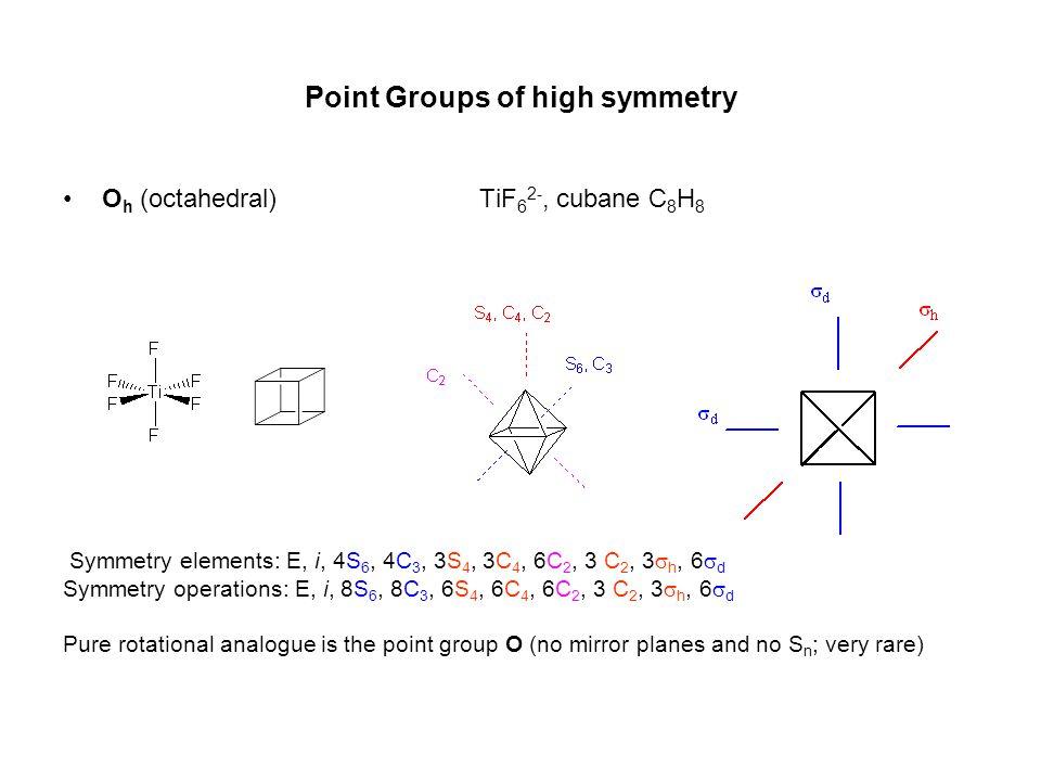 •O h (octahedral) TiF 6 2 ‑, cubane C 8 H 8 Symmetry elements: E, i, 4S 6, 4C 3, 3S 4, 3C 4, 6C 2, 3 C 2, 3  h, 6  d Symmetry operations: E, i, 8S 6