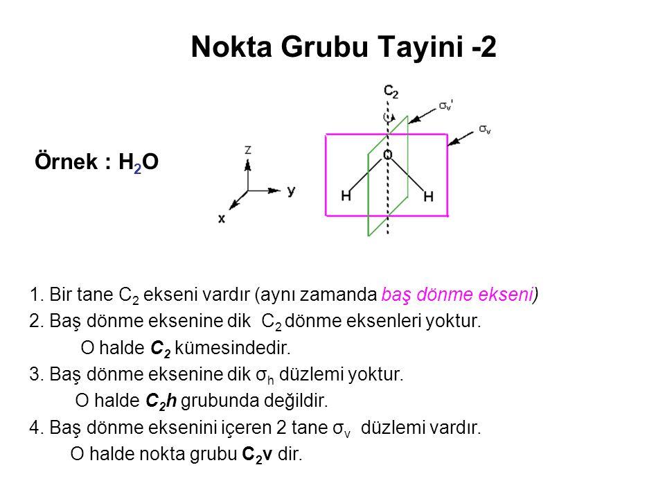 Nokta Grubu Tayini -2 1. Bir tane C 2 ekseni vardır (aynı zamanda baş dönme ekseni) 2. Baş dönme eksenine dik C 2 dönme eksenleri yoktur. O halde C 2