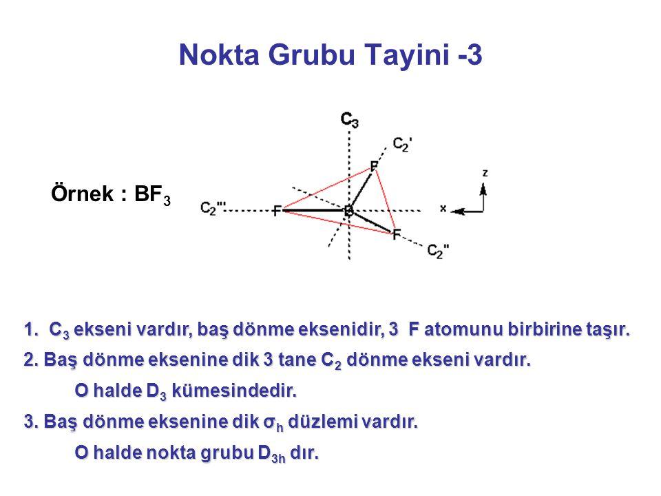 Nokta Grubu Tayini -3 1.C 3 ekseni vardır, baş dönme eksenidir, 3 F atomunu birbirine taşır.
