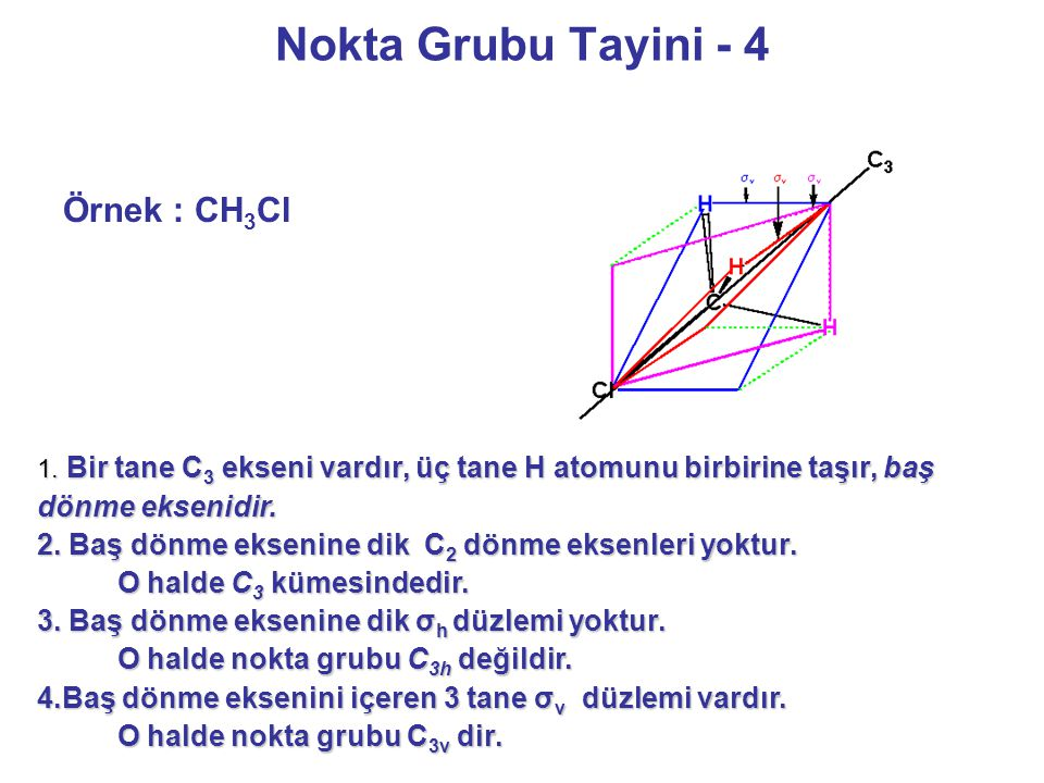 Nokta Grubu Tayini - 4 Örnek : CH 3 Cl 1. Bir tane C 3 ekseni vardır, üç tane H atomunu birbirine taşır, baş dönme eksenidir. 2. Baş dönme eksenine di