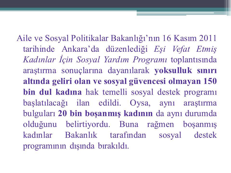 Aile ve Sosyal Politikalar Bakanlığı'nın 16 Kasım 2011 tarihinde Ankara'da düzenlediği Eşi Vefat Etmiş Kadınlar İçin Sosyal Yardım Programı toplantısı