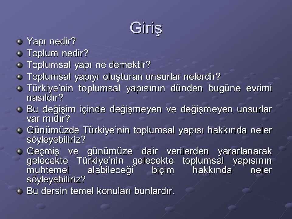 Giriş Yapı nedir? Toplum nedir? Toplumsal yapı ne demektir? Toplumsal yapıyı oluşturan unsurlar nelerdir? Türkiye'nin toplumsal yapısının dünden bugün