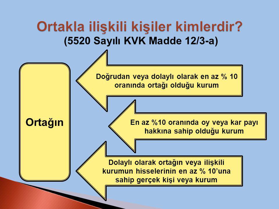 (5520 Sayılı KVK Madde 12/3-a) Ortağın Doğrudan veya dolaylı olarak en az % 10 oranında ortağı olduğu kurum En az %10 oranında oy veya kar payı hakkın