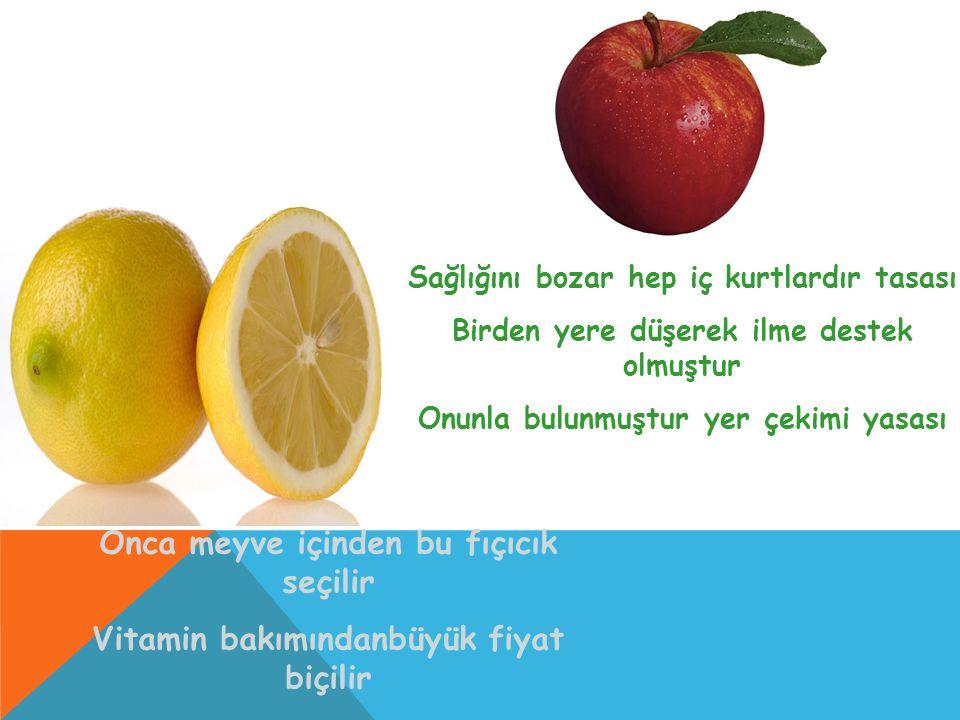 Onca meyve içinden bu fıçıcık seçilir Vitamin bakımındanbüyük fiyat biçilir Kuvvet kudret iktidar versin diye içilir Sağlığını bozar hep iç kurtlardır
