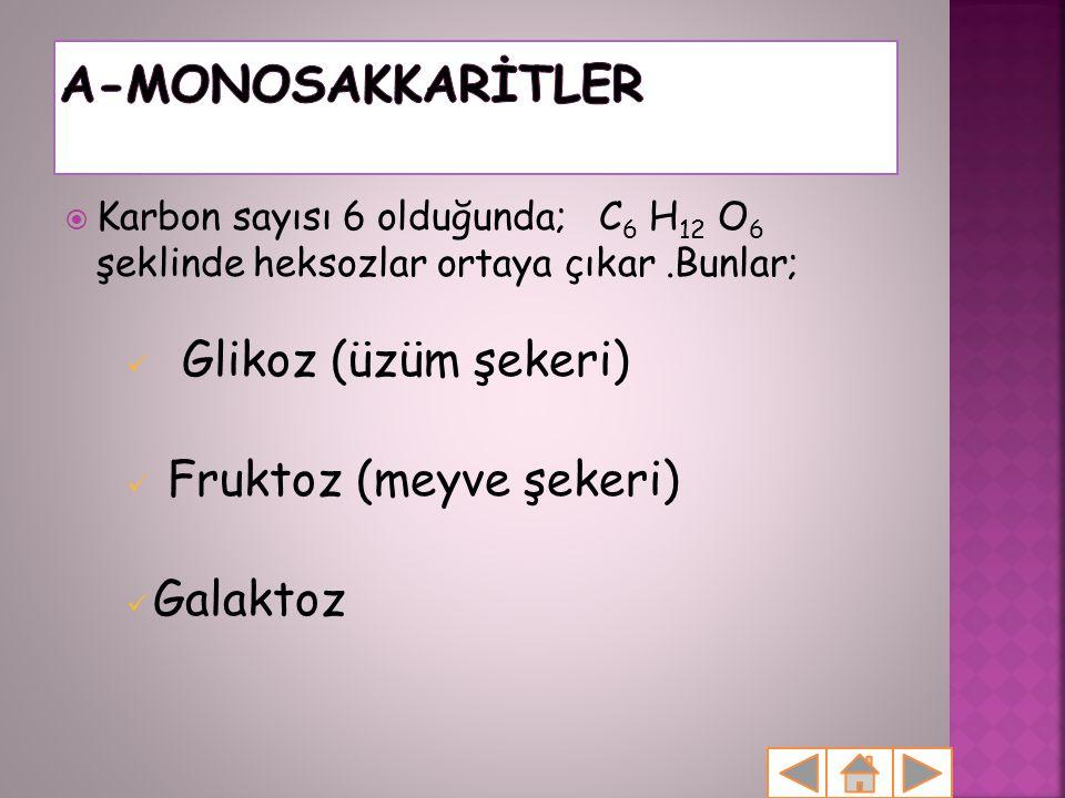  Karbon sayısı 6 olduğunda; C 6 H 12 O 6 şeklinde heksozlar ortaya çıkar.Bunlar;  Glikoz (üzüm şekeri)  Fruktoz (meyve şekeri)  Galaktoz