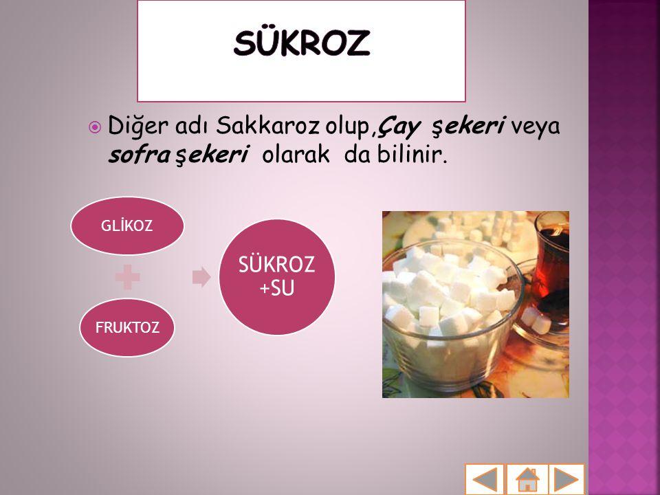  Diğer adı Sakkaroz olup,Çay şekeri veya sofra şekeri olarak da bilinir. GLİKOZFRUKTOZ SÜKROZ +SU