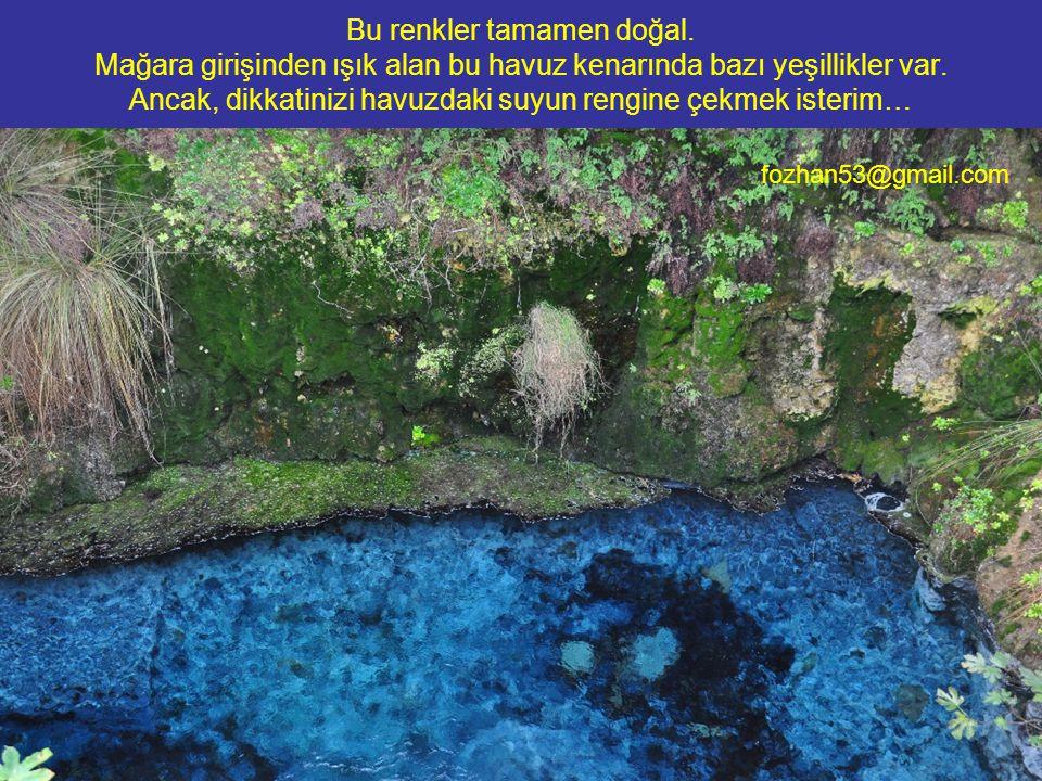Bu renkler tamamen doğal. Mağara girişinden ışık alan bu havuz kenarında bazı yeşillikler var. Ancak, dikkatinizi havuzdaki suyun rengine çekmek ister