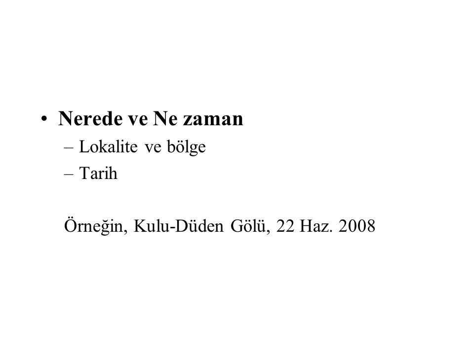 •Nerede ve Ne zaman –Lokalite ve bölge –Tarih Örneğin, Kulu-Düden Gölü, 22 Haz. 2008