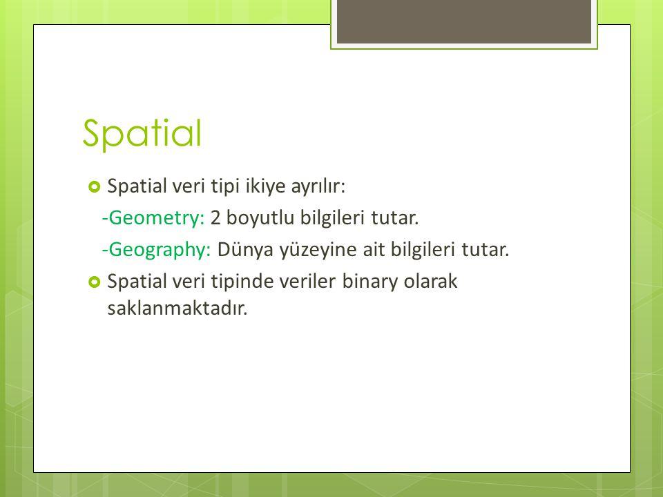Spatial  Spatial veri tipi ikiye ayrılır: -Geometry: 2 boyutlu bilgileri tutar.