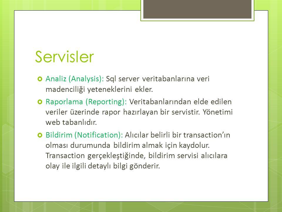 Servisler  Analiz (Analysis): Sql server veritabanlarına veri madenciliği yeteneklerini ekler.