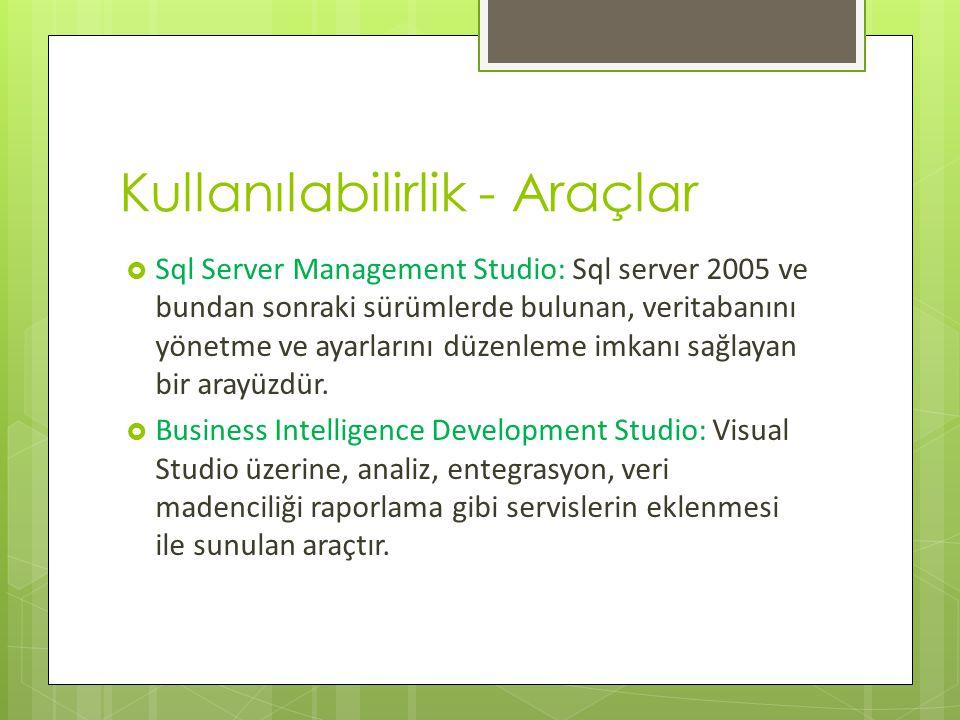 Kullanılabilirlik - Araçlar  Sql Server Management Studio: Sql server 2005 ve bundan sonraki sürümlerde bulunan, veritabanını yönetme ve ayarlarını düzenleme imkanı sağlayan bir arayüzdür.