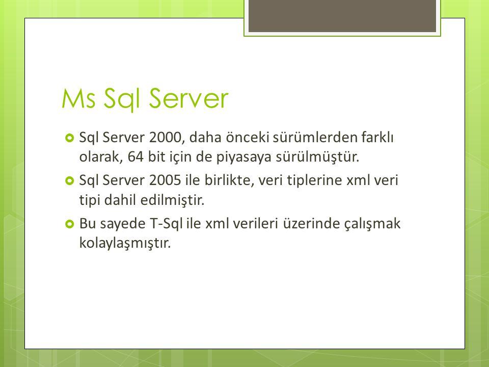 Ms Sql Server  Sql Server 2000, daha önceki sürümlerden farklı olarak, 64 bit için de piyasaya sürülmüştür.