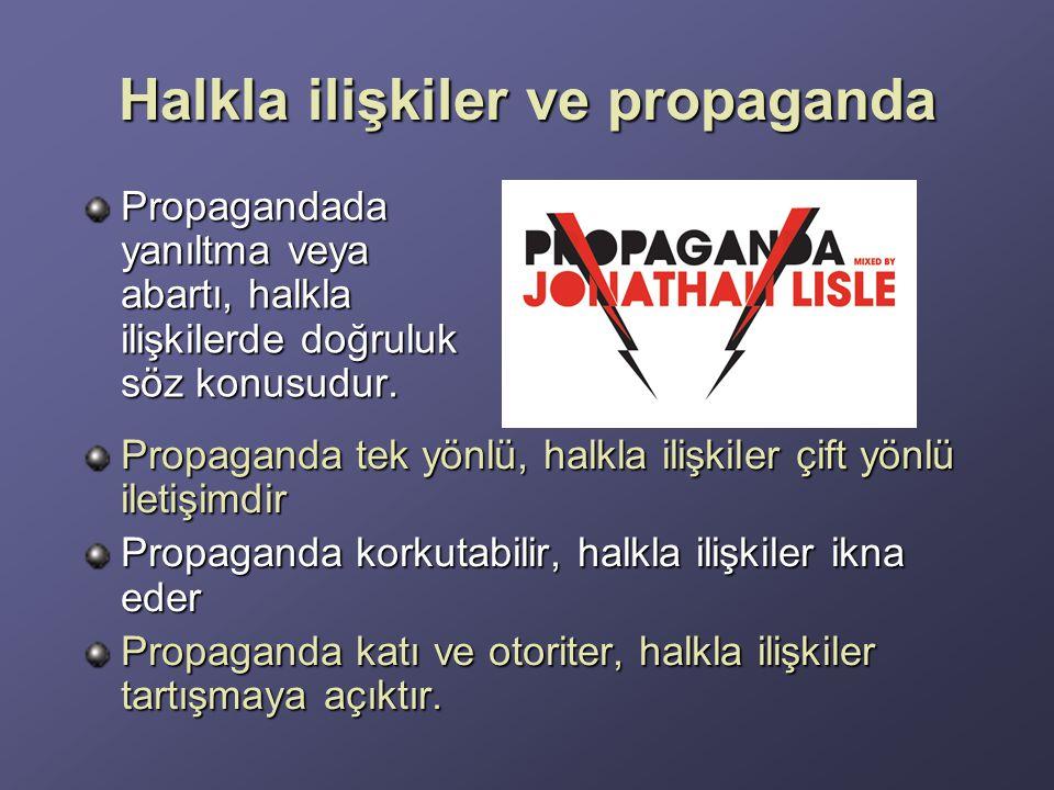 Halkla ilişkiler ve propaganda Propagandada yanıltma veya abartı, halkla ilişkilerde doğruluk söz konusudur.