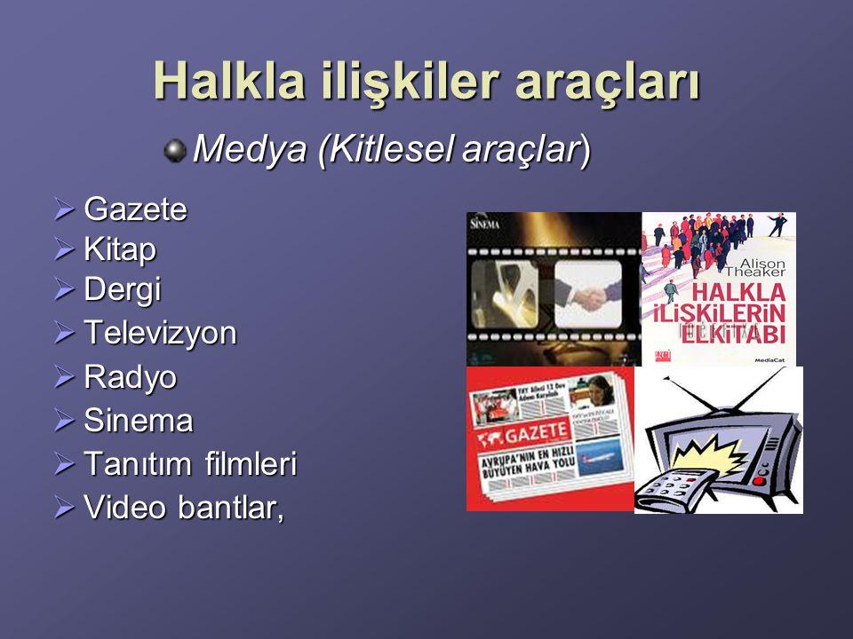 Halkla ilişkiler araçları  Gazete  Kitap  Dergi  Televizyon  Radyo  Sinema  Tanıtım filmleri  Video bantlar, Medya (Kitlesel araçlar)