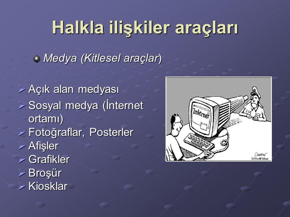 Halkla ilişkiler araçları Medya (Kitlesel araçlar)  Açık alan medyası  Sosyal medya (İnternet ortamı)  Fotoğraflar, Posterler  Afişler  Grafikler  Broşür  Kiosklar