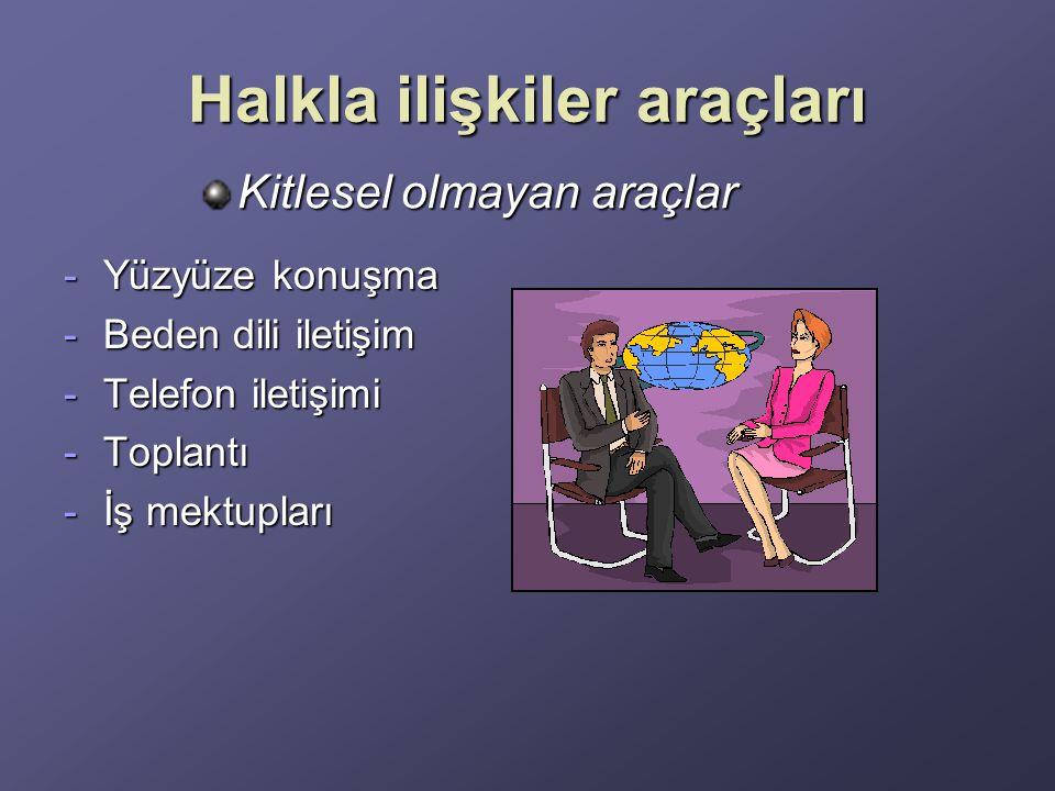 Halkla ilişkiler araçları -Yüzyüze konuşma -Beden dili iletişim -Telefon iletişimi -Toplantı -İş mektupları Kitlesel olmayan araçlar