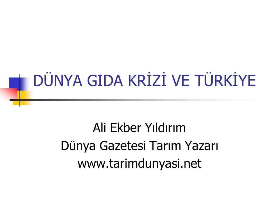 DÜNYA GIDA KRİZİ VE TÜRKİYE Ali Ekber Yıldırım Dünya Gazetesi Tarım Yazarı www.tarimdunyasi.net