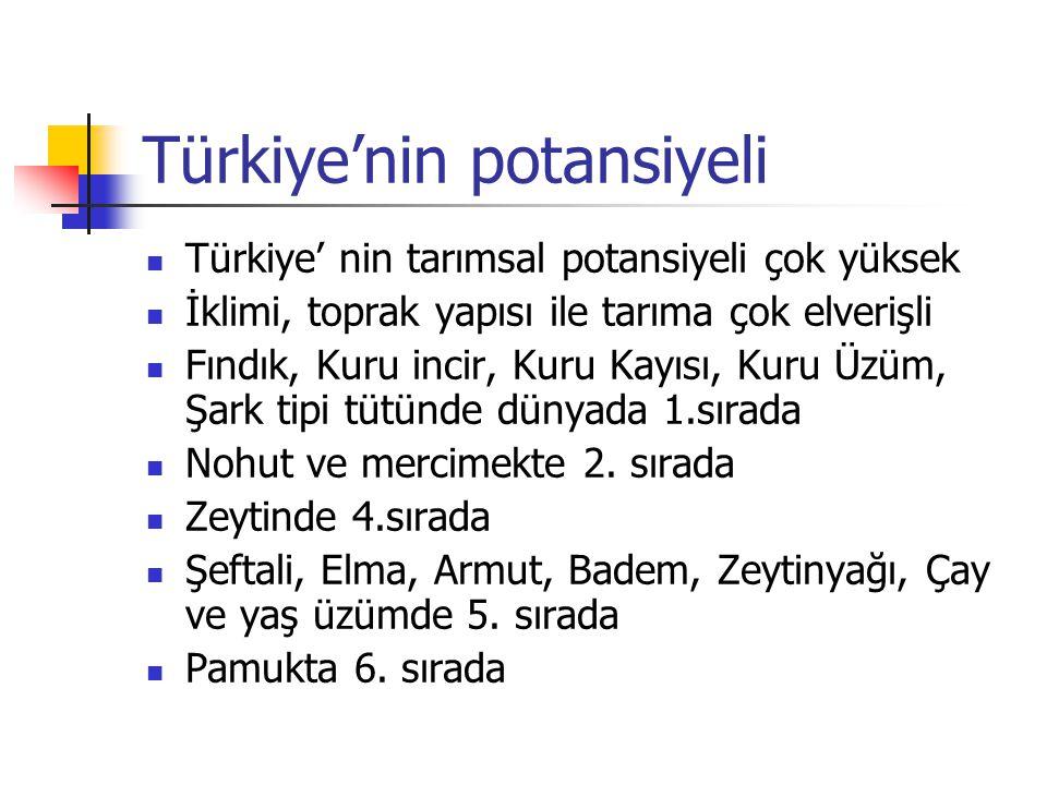 Türkiye'nin potansiyeli  Türkiye' nin tarımsal potansiyeli çok yüksek  İklimi, toprak yapısı ile tarıma çok elverişli  Fındık, Kuru incir, Kuru Kay