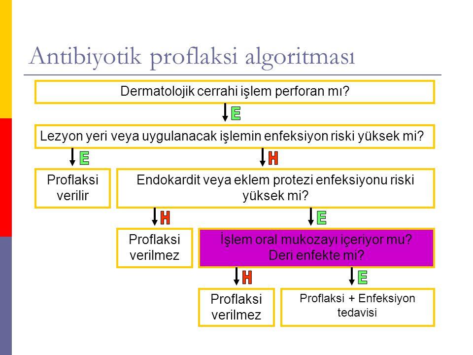 Antibiyotik proflaksi algoritması Dermatolojik cerrahi işlem perforan mı.