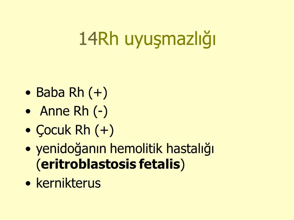14Rh uyuşmazlığı •Baba Rh (+) • Anne Rh (-) •Çocuk Rh (+) •yenidoğanın hemolitik hastalığı (eritroblastosis fetalis) •kernikterus