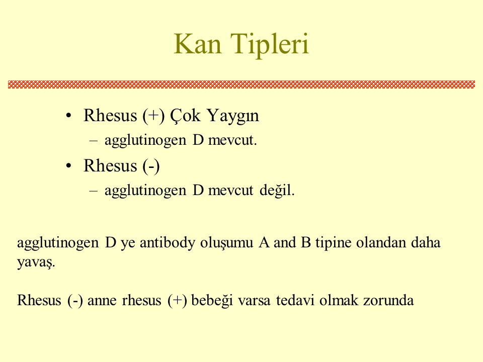 Kan Tipleri •Rhesus (+) Çok Yaygın –agglutinogen D mevcut.