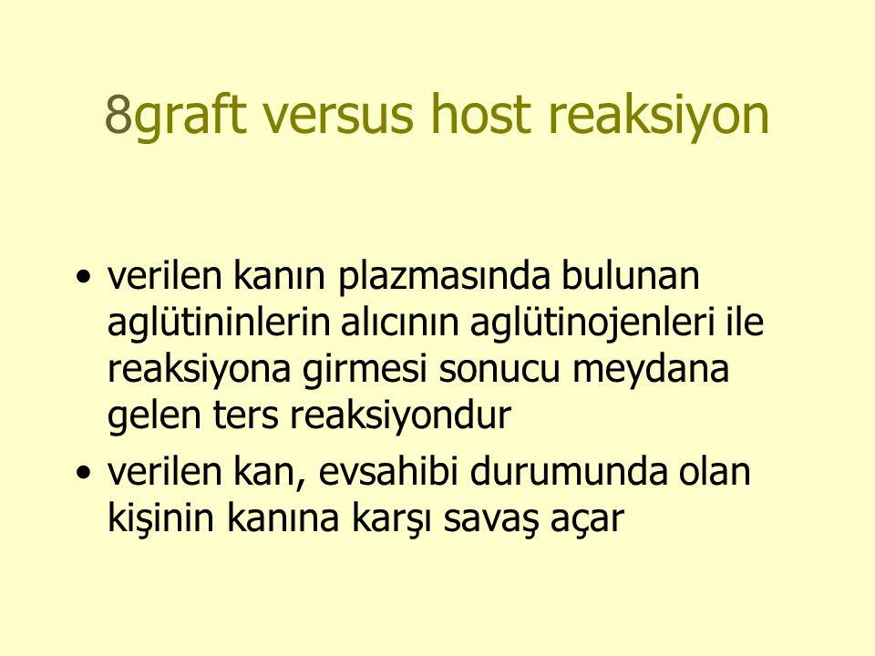 8graft versus host reaksiyon •verilen kanın plazmasında bulunan aglütininlerin alıcının aglütinojenleri ile reaksiyona girmesi sonucu meydana gelen ters reaksiyondur •verilen kan, evsahibi durumunda olan kişinin kanına karşı savaş açar