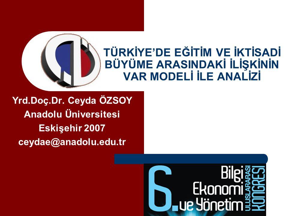 Türkiye'de Eğitim ve İktisadi Büyüme Arasındaki İlişkinin VAR Modeli ile Analizi Ceyda ÖZSOY Amaç: Türkiye'de çeşitli eğitim düzeyleri ile iktisadi büyüme arasındaki ilişkinin yönünü ve büyüklüğünü analiz etmek.
