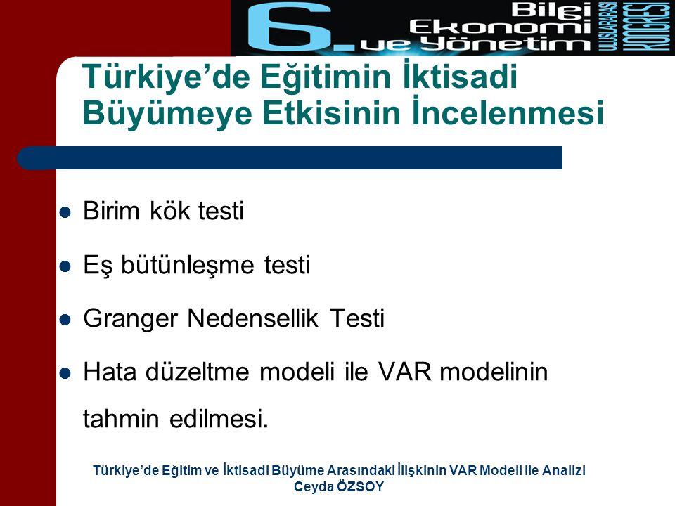 Türkiye'de Eğitim ve İktisadi Büyüme Arasındaki İlişkinin VAR Modeli ile Analizi Ceyda ÖZSOY Veri Aralığı (1923-2005) Daha fazla veriyle çalışılması ve dolayısıyla serbestlik derecesinin artması, ölçüm hatalarının oluşmasını engelleme ve daha güvenilir sonuçlar elde etme olanağı sağlanmaktadır.