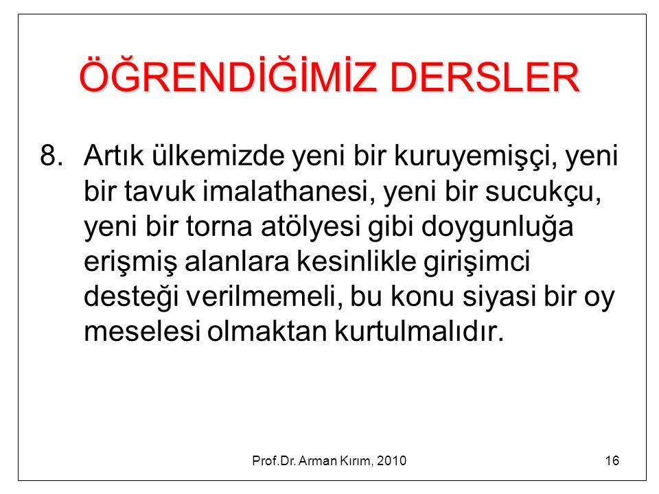 Prof.Dr. Arman Kırım, 201016 ÖĞRENDİĞİMİZ DERSLER 8. Artık ülkemizde yeni bir kuruyemişçi, yeni bir tavuk imalathanesi, yeni bir sucukçu, yeni bir tor